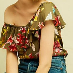 ANTHROPOLOGIE Vallita Off-The-Shoulder Blouse S